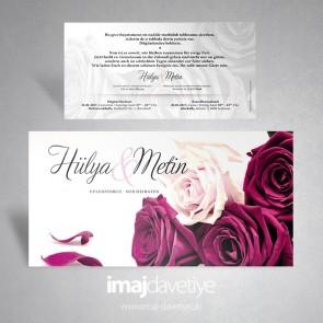 Mor ve beyaz gül resimli düğün/nişan veya kına davetiyesi 074L