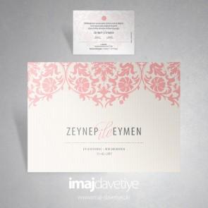Pembe Vintage düğün davetiyesi 008