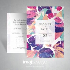 Renkli suluboya çiçek desenli düğün davetiyesi 059