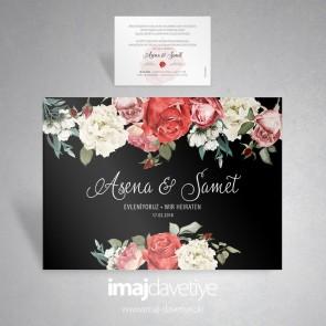 Düğün veya nişan için siyah renkte farklı çiçek ve güllerle süslü davetiye kartı 036