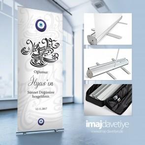 Nazar boncuklu ve Maşallah yazılı karşılama/hoşgeldiniz panosu - çantalı Roll-up sistemi 16