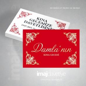 Altın süslemeli kırmızı renkte kına davetiye kartı 16