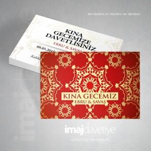 Kırmızı renkte altın süslemeli Kına kartı davetiyesi - değişik boyutlarda - 21