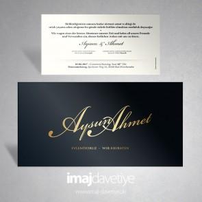 Siyah renkte sade düğün davetiyesi 046