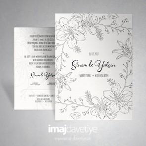 Beyaz zemin üstü çiçek çizimli düğün veya nişan davetiyesi 029