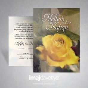 Sarı güllü düğün davetiye 017