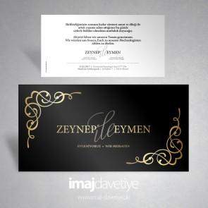 Altın süslemeli ve yazılı siyah renkte düğün veya nişan davetiyesi 023