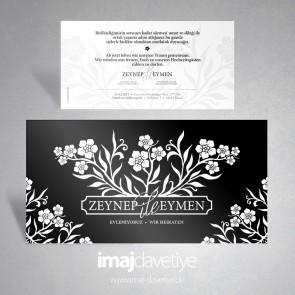 Beyaz çiçek desenli siyah davetiye kartı 024S