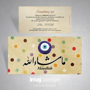 Arapça Maşallah yazılı Sünnet Davetiyesi 03