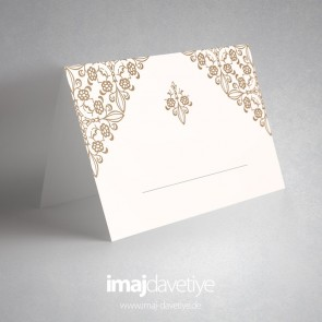 Desenli beyaz masa kartı - 06