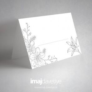 Çiçek çizimli beyaz masa kartı - 04