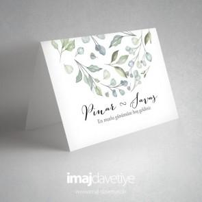Yeşil suluboya tarzı yaprak desenli masa kartı 71