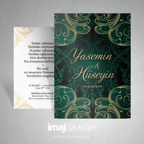 Kına gecesi için yeşil renkte altın süslemeli kına davetiye kartı 11