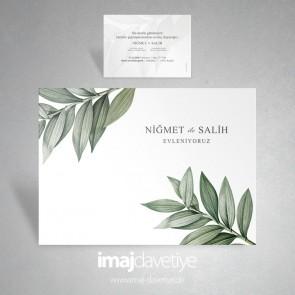 Botanik yaprak desenli düğün davetiyesi 058